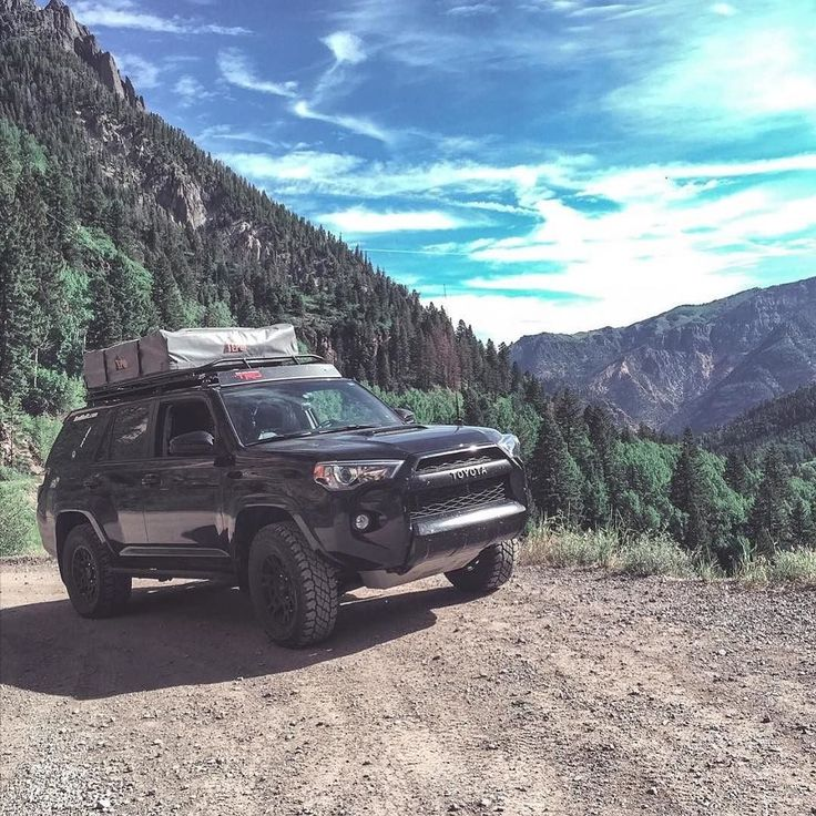 "Here is another great shot of #overland #toyota platform by @rockcreekoverland . Those #4runner are getting very popular! . Build Info: 2015 TRD Pro 4Runner Cooper STT Pro 285/70/17 SpiderTrax  spacers OME 3"" lift BudBuilt Sliders RCI skids Gobi Stealth roof rack & ladder Tepui Autana RTT ARB awning ARB 50L fridge ARB compressor. by expeditionportal"