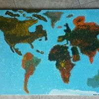 """My painting of the World Map 24"""" x 36"""" Acrylic on canvas  $250 starting price  -FREE PRINT WITH PURCHASE"""