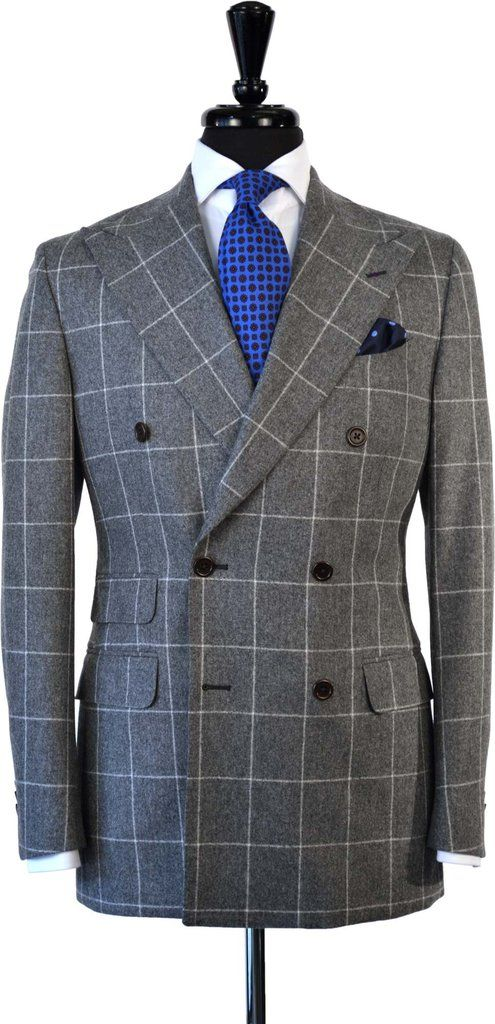 Double Breasted Windowpane Flannel Suit