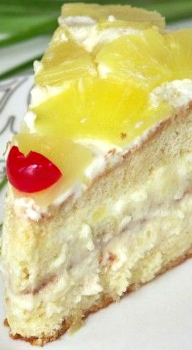 Pineapple Layer Cake Filled with Fresh Pineapple Cream ~ Any Fruit or Berries May Be used instead of The Pineapple. Peaches, Mangoes, Strawberries, and Cherries. Ect....