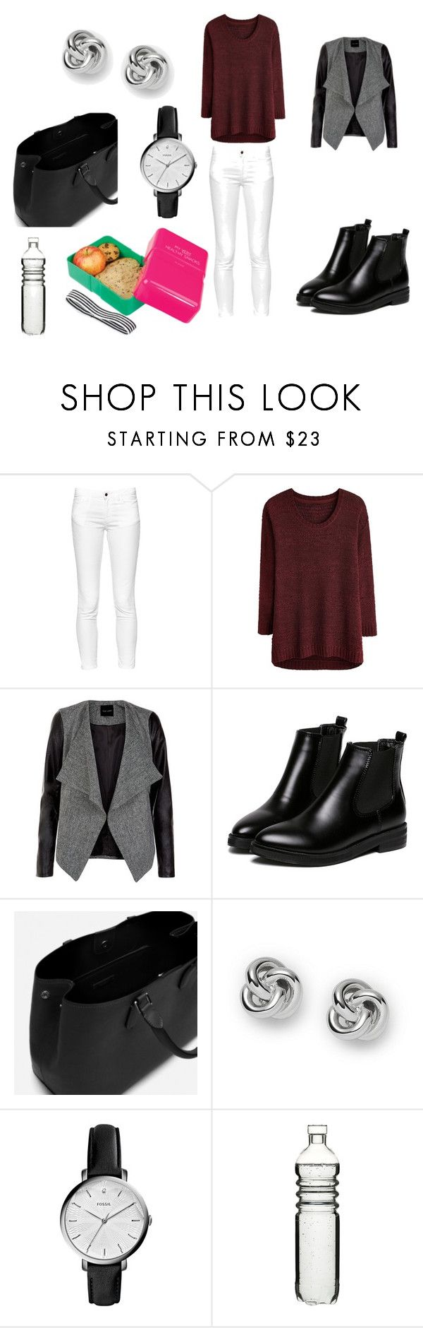 """""""Le jour d'une epreuve ( bac, brevet, examen ...)"""" by lola18-04 ❤ liked on Polyvore featuring French Connection, Zara, FOSSIL, Dot & Bo and Wild & Wolf"""