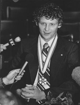 Terry Fox speaks to the press after receiving the Order of Canada in an archive…