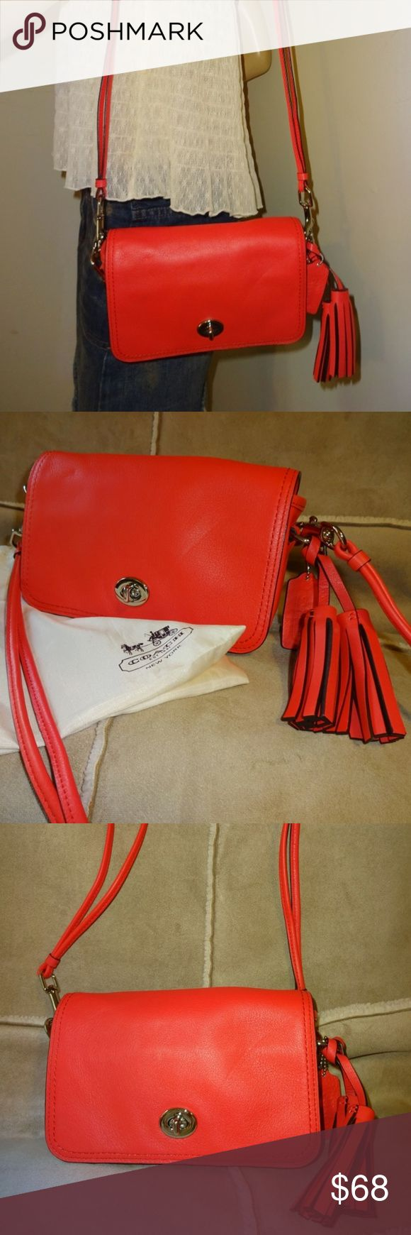 """Coach Legacy Turn Lock Penny Flap X-Body COACH LEGACY ~  Exquisite eye-popping color on this cute LEGACY Penny turn lock flap handbag! Crafted from genuine leather, with shiny silver hardware and black outline edgepaint trim. Features  - Double strand """"spaghetti"""" straps drop 22.5"""" - Leather lozenge signature hang tag - Wrap around leather tassels - Full front flap with turn lock closure - Front slip pocket - Beige cloth lining - Interior slip pocket - Leather creed w/serial no. K1271-19914…"""