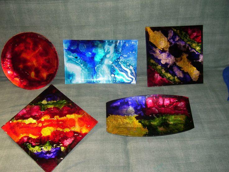 piatto vetro colorink e foglia oro, by Alida.Mi decoupage, 15,00 € su misshobby.com