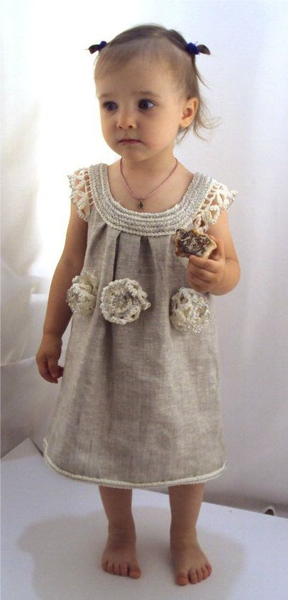 """crocheted /sew  organic linen baby/ toddler/girl  flower dress/tunic with lacy edge """"White peonies"""