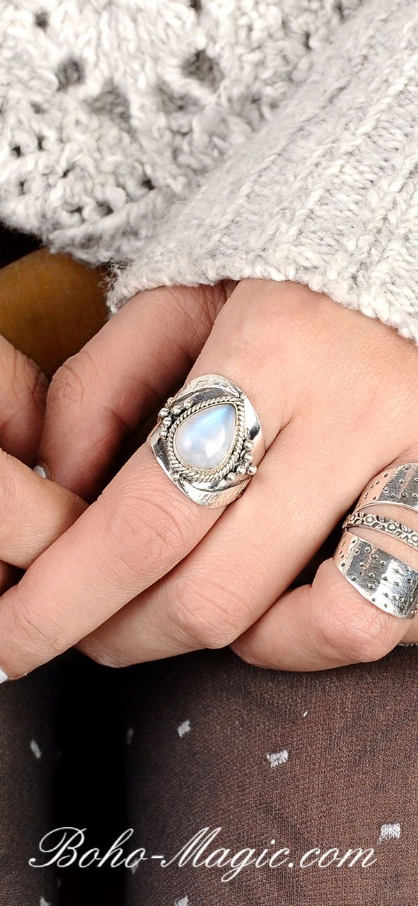 6b519864cd26a Jewelry Sterling Silver Moonstone ring, Gemstone Ring for Women ...