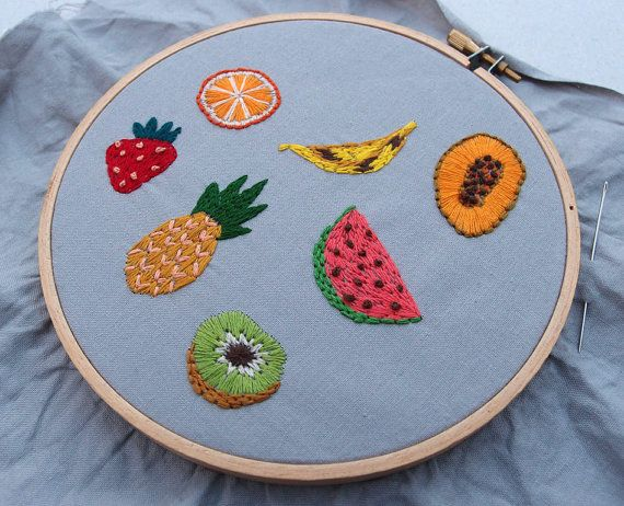 Fruit Salad Stickers Hand Embroidered Tropical door esthersandler