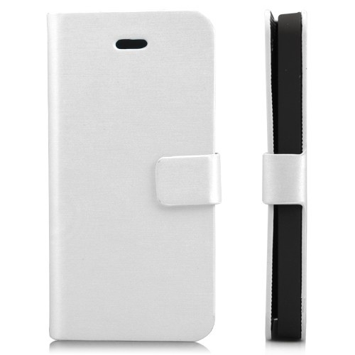 Wallet Shaped Magnetic Satin Material Leather Case  for iPhone 5-White