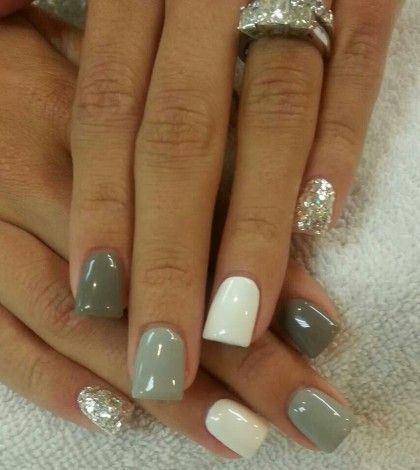 white, grey & silver acrylic nails