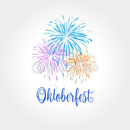 Octoberfest. Festive autumn October festival abstract background with fireworks. Germany. Beer festival. Bavaria, famous for beer, tradition colors white and blue. — Stock Vector © sofiartmedia.gmail.com #122351226