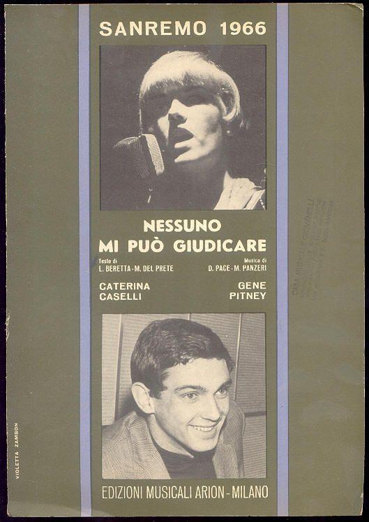 """Caterina Caselli + Gene Pitney, spartito 1966 Sanremo Festival """"Nessuno mi può giudicare"""""""