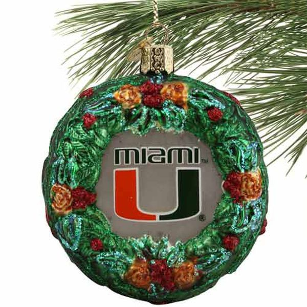 Miami Hurricanes Glass Wreath Ornament - $7.99