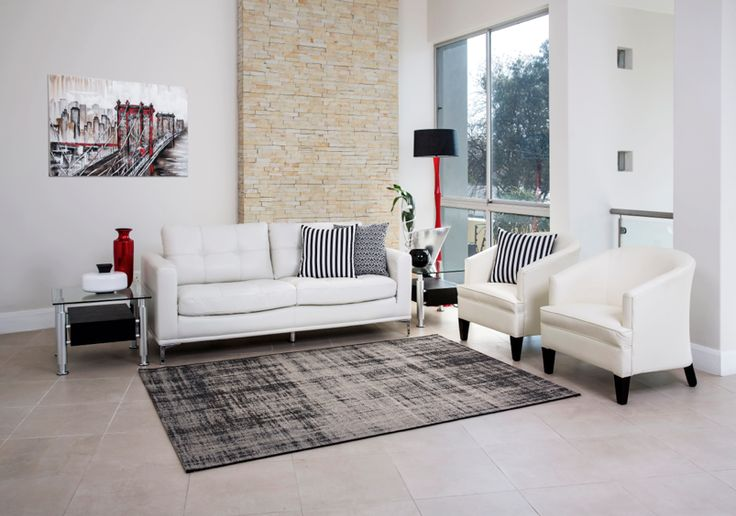 White leather couch | Bucket Chairs | Rochester Furniture