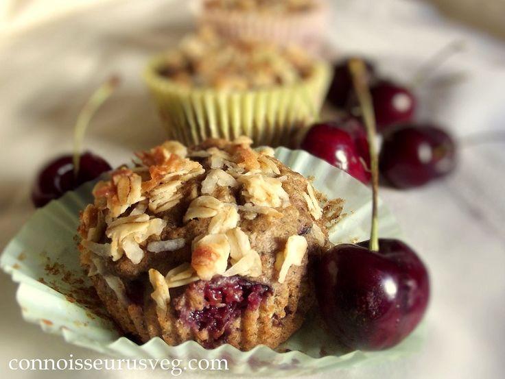 Cherry Oatmeal Crumble Top Muffins - Connoisseurus Veg