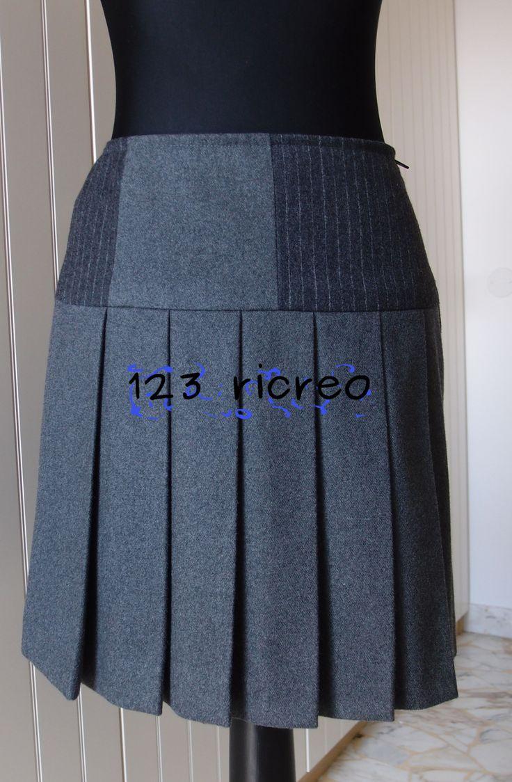 #Gonna grigia con baschina in due tessuti e pieghe sul davanti - 123ricreo
