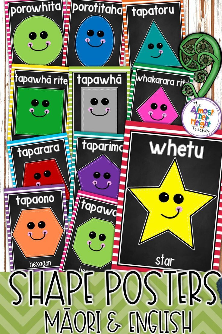 designed for the New Zealand classrooms the pack includes shape posters in Maori with English or Maori.  All posters come with or without the face - you choose. #newzealandclassroom #maorilanguage #maori #classroomposters #shape #shapeposters #classroomdecor #teacherspayteachers