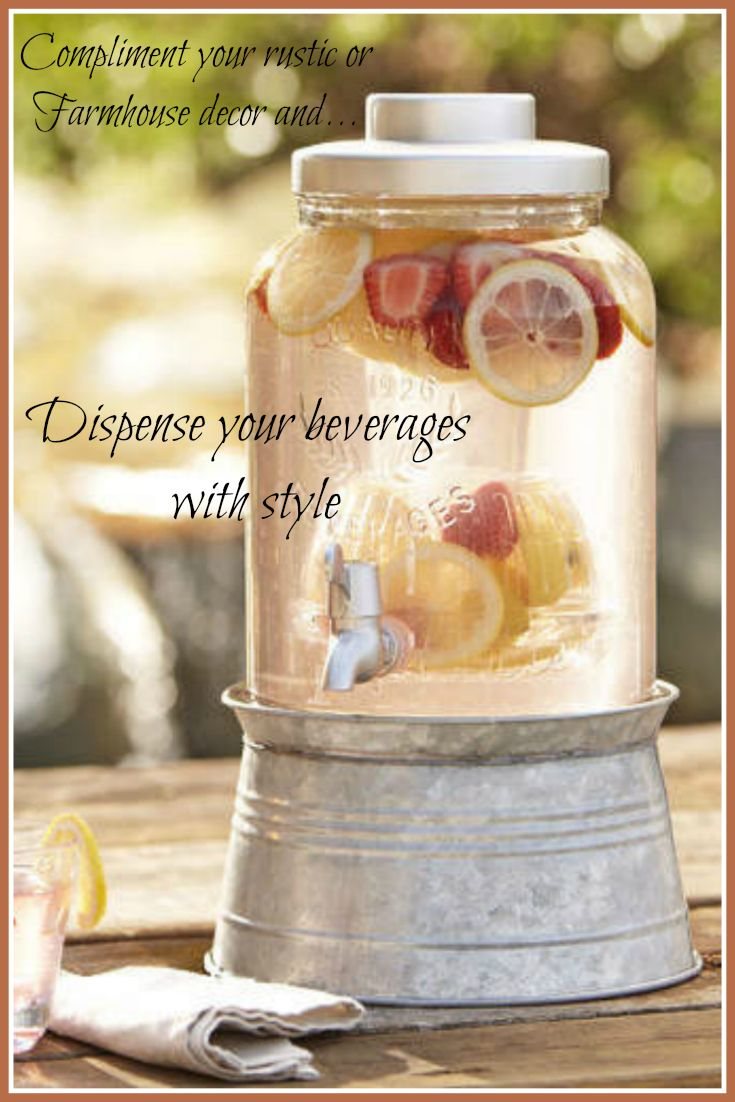 Birch Lane Cawley Beverage Dispenser. Farmhouse decor, Farmhouse beverage dispenser, Farmhouse kitchen, Rustic home decor, Rustic beverage dispenser, Rustic kitchen, Beverage dispenser. #farmhousestyle #farmhousedecor #ad #rusticdecor