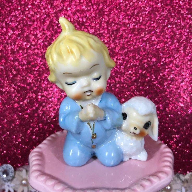 Vintage Baby Boy Kneeling W/ Lamb Ceramic Easter Figurine Blue Pajamas Japan  | eBay
