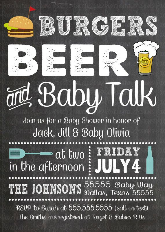 Burgers Beer & Baby Talk Baby Shower by FoxDigitalDesigns on Etsy