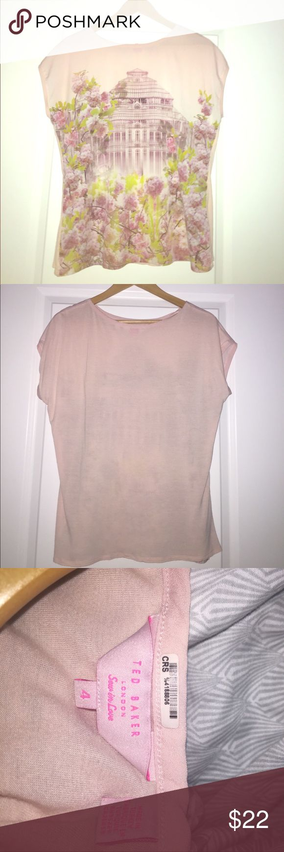 Size 4 Ted Baker London light pink women's t-shirt A gently worn size 4 Ted Baker London shirt. Perfect for summer. Ted Baker London Tops Tees - Short Sleeve