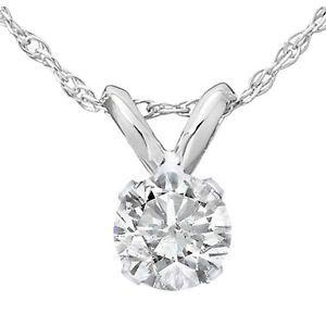 1/3ct Round Solitaire White Gold Diamond Pendant