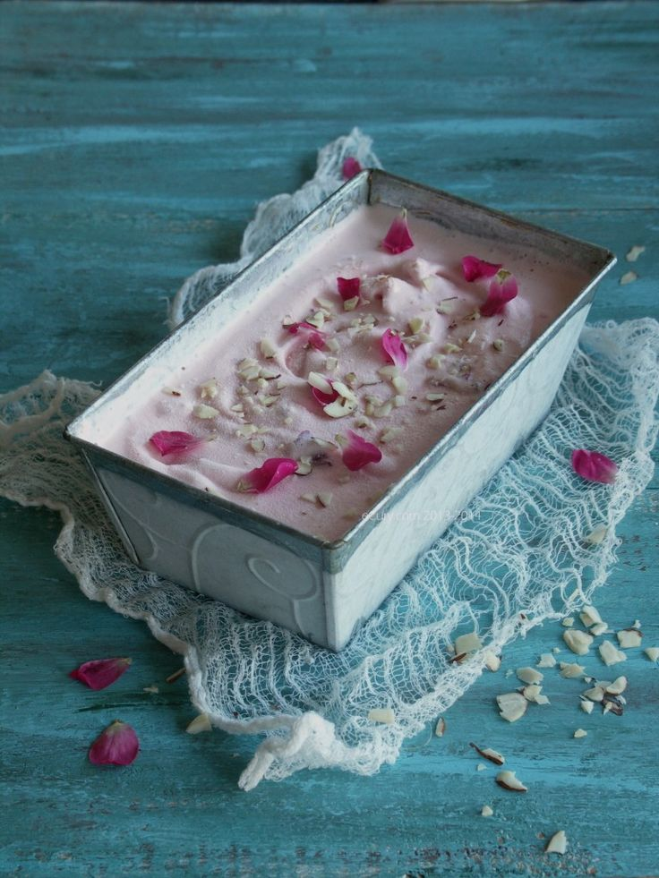 Rose Flavored Ice Cream with Rose Petals | eCurry - The Recipe Blog