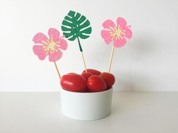 Monstera & Hibiscus toppers- set of 12 hibiscus and monstera toppers- hibiscus toppers- mostera toppers- Tropcial toppers- Hawaiian party