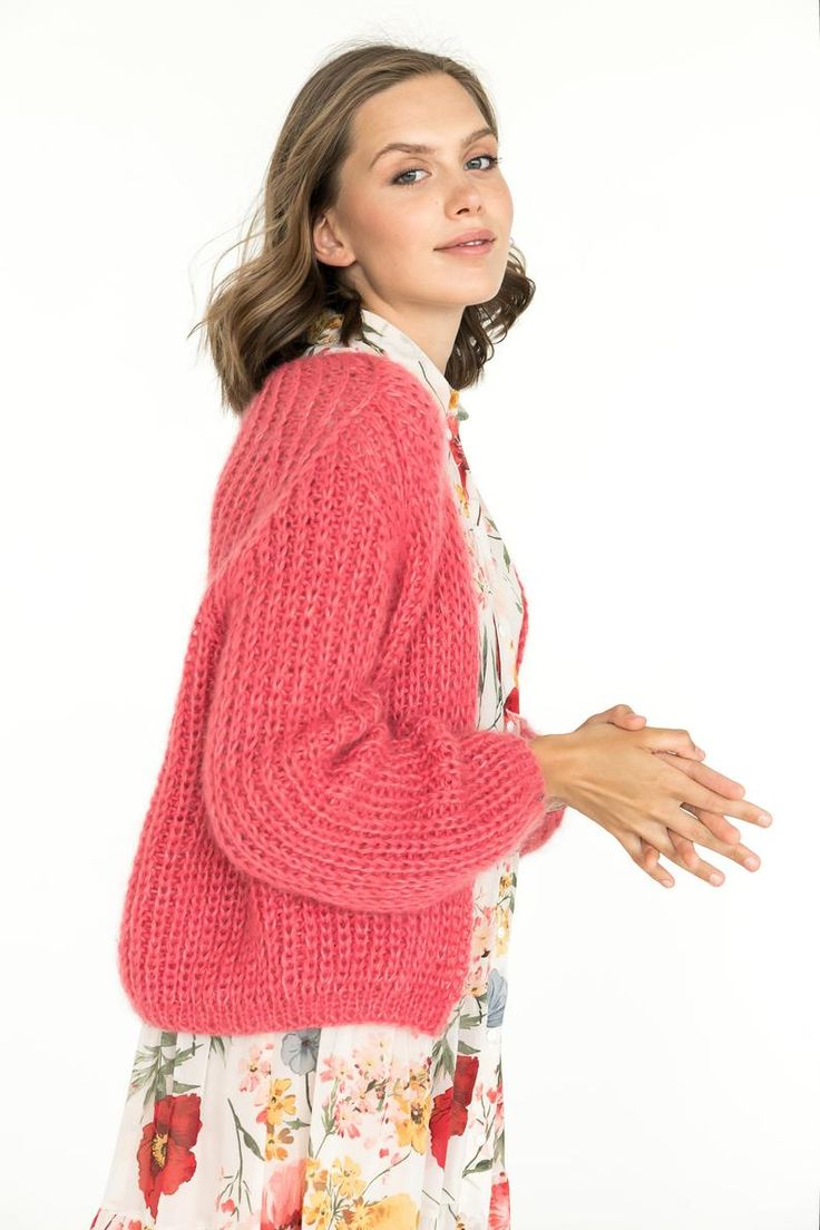Timeless cable knit mohair sweater coral mohair cardigan