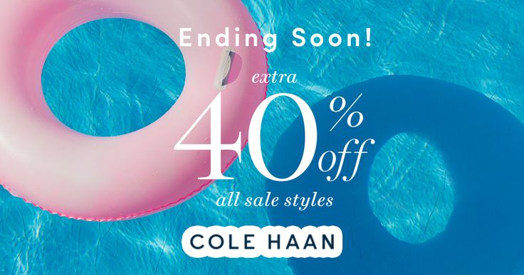In-store & Online! Ending Soon! Extra 40% #Off All Sale Styles.  Store : #ColeHaan Scope: Entire Store Coupon Code : SAVE   Ends On : 06/04/2017  Get more deals: http://www.geoqpons.com/Cole-Haan-coupon-codes  Get our Android mobile App: https://play.google.com/store/apps/details?id=com.mm.views    Get our iOS mobile App: https://itunes.apple.com/us/app/geoqpons-local-coupons-discounts/id397729759?mt=8