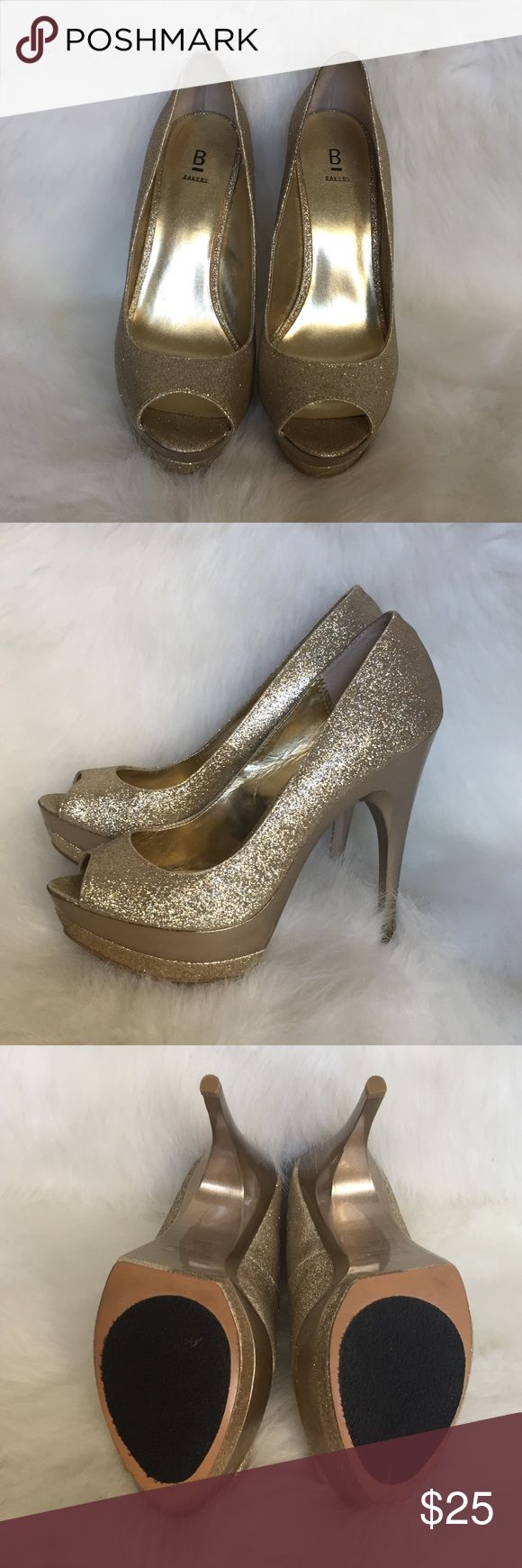 Bakers Gold Platform Heels Gold, platform heels. Like new condition. Non-skid bottom. Bakers Shoes Heels