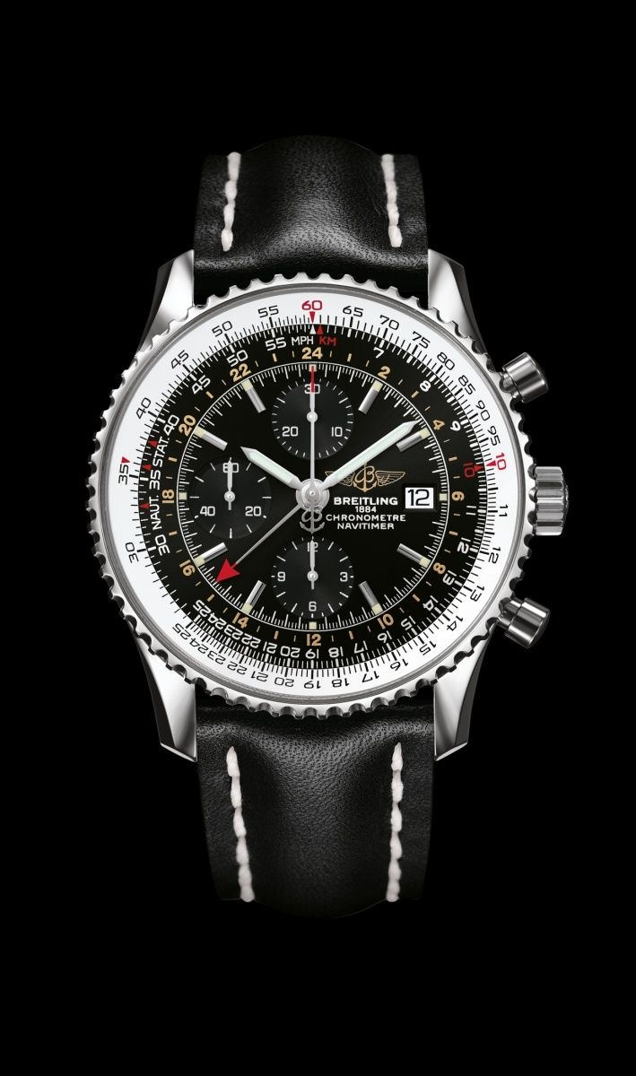 Navitimer World watch by Breitling - Steel case, black dial and black leather strap.