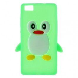 Huawei P8 Lite #vihreä #pingviini silikonikuori.