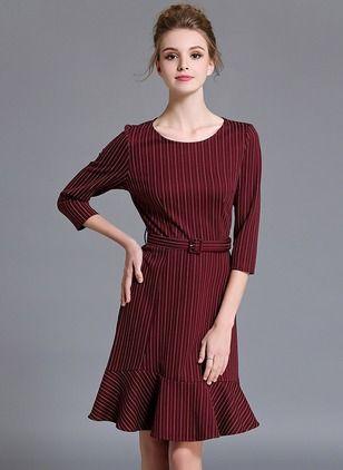 Poliester Stripe rękawy 3/4 kolan sukienki na co dzień