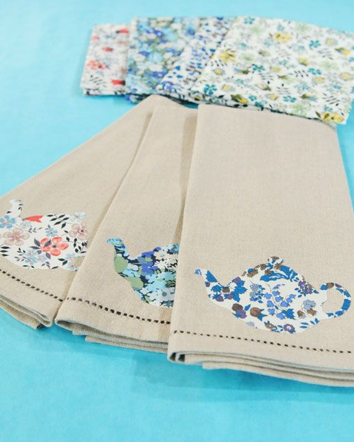 applique tea towels