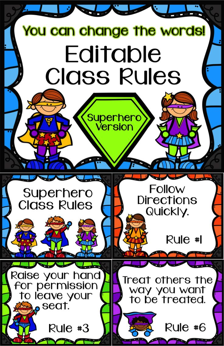 Superhero class rules!  Editable (PowerPoint) - change the words and numbers.  Seven backgrounds to choose from.  $ TpT