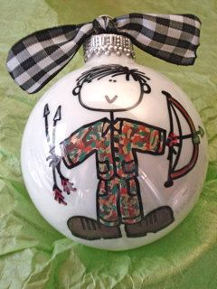 Bow Hunter Ornament Hand Painted and by HappyYouHappyMe on Etsy, $14.00