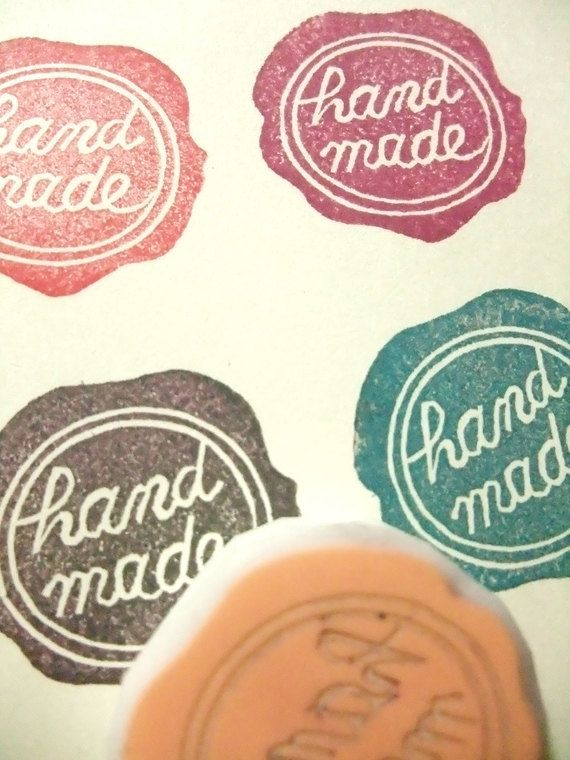 hand carved rubber stamp - HANDMADE no6 - seal wax style  (rsm-hm6). $10.00, via Etsy.