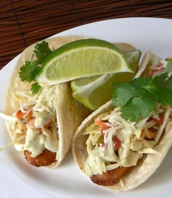 Beer Battered Fish Tacos with Baja Sauce - I swapped out for both light mayo and light sour cream. Added some yummy avocado and a good squeeze of lime. I even skipped the marinating of the fish because of time. I used halibut and it was YUMMY!