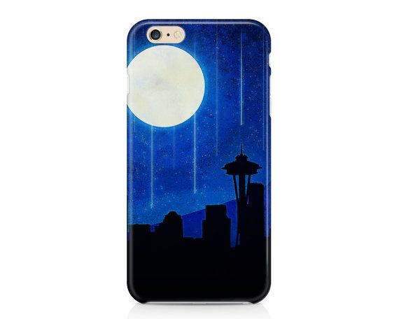 This gorgeous phone case features the Seattle city skyline with the Space Needle in silhouette, with a large glowing moon and Mount Rainier in the background. If you love Seattle, this will definitely become your favorite case!  AVAILABLE DEVICE SIZES: iPhone 7 Plus (tough option only) iPhone 7 iPhone 6S Plus iPhone 6S iPhone 6 Plus iPhone 6 iPhone 5/5S iPhone 5C iPhone 4/4S Samsung Galaxy 7 Edge (tough option only) Samsung Galaxy 7 (tough option only) Samsung Galaxy 6 Samsung Galaxy 6 Edge…