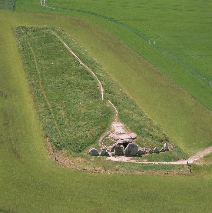 West Kennet, one of the largest, most impressive and most accessible Neolithic chambered tombs in Britain, built in around 3640 BC and used by a community for around 20 years. Image copyright English