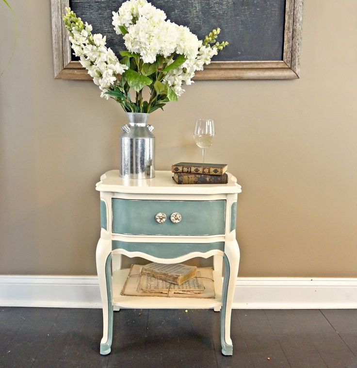 French Provincial Nightstand - Duck Egg Blue. $95.00, via Etsy.
