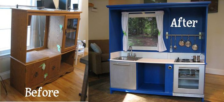 Play Kitchen Made from TV Cabinet