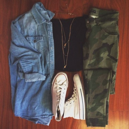 blue button up black t shirt camo pants white converse