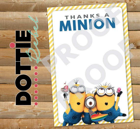 INSTANT DOWNLOAD  Thanks a Minion Thank You by DottieRebelDesigns