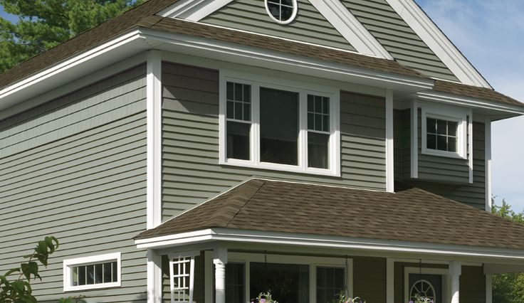 Grey siding brown roof bi level updates pinterest for Siding square