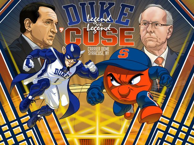 Syracuse basketball cartoon: 'Cuse vs. Duke. I was there for the SOLD OUT game in the Carrier Dome.