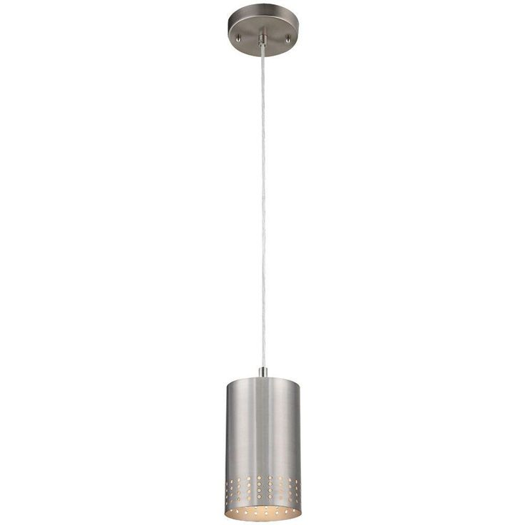 Westinghouse 1-Light Brushed Nickel Adjustable Mini Pendant with Perforated Metal Cylinder Shade-6101200 - The Home Depot