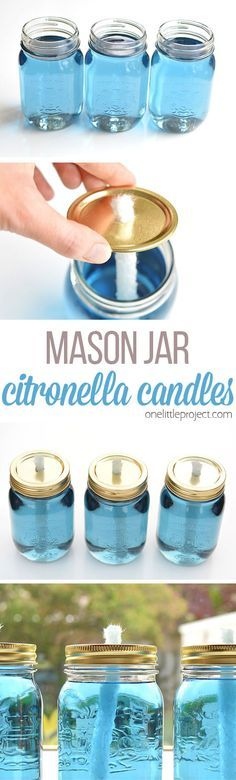 These mason jar citronella candles are REALLY EASY and they really keep the bugs away! What a fun and beautiful summer project! Those flames are amazing!
