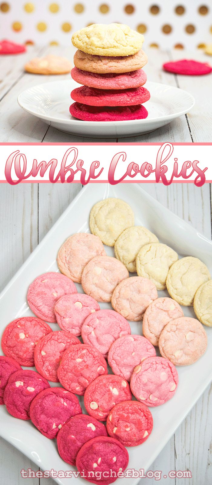 The Starving Chef | Ombre cookies - you can do any colors you want on a white chocolate chip cookie!