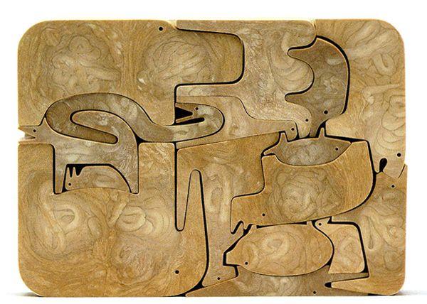 Vintage Danese - Enzo Mari 16 Animali Original Resin Wood Puzzle Toy